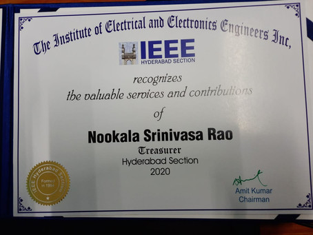 Certificate of Appreciation - IEEE Hyderabad Section