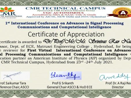 Certificate of Appreciation - Reviewer