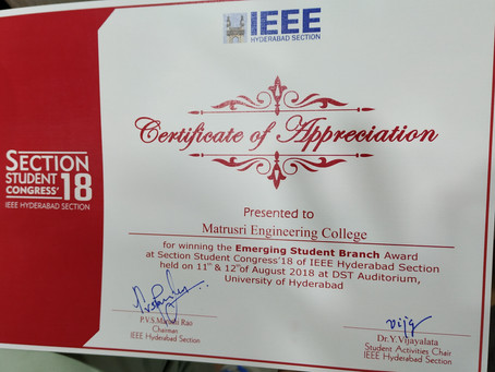 IEEE Matrusri Engineering College Student Branch (STB17791) Wins Emerging Student Branch Award