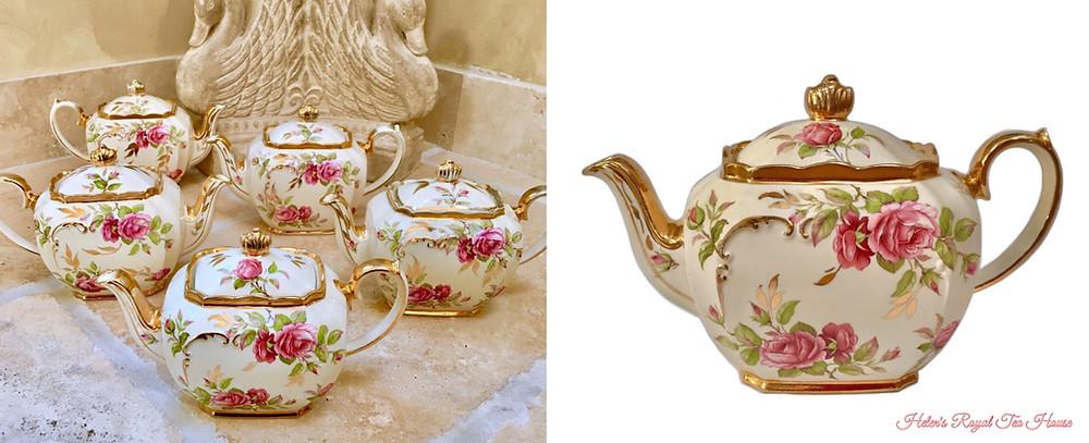 Sadler Teapot, Rose Cubed