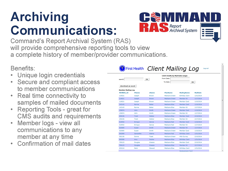 Command's Report Archival System will provide comprehensive reporting tools on communications
