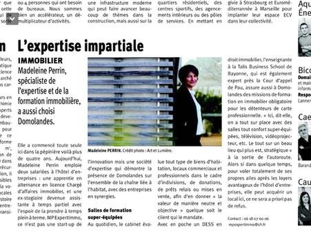 MPEXPERTIMMO dans le journal du Sud-Ouest Landes ; Expertise et formation en immobilier.