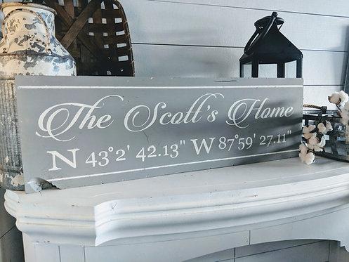 "Home Coordinates Sign (36"")"