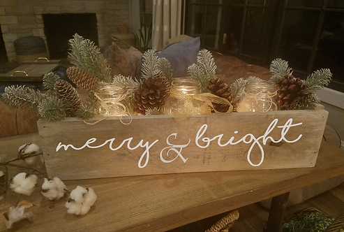 """Merry & Bright""  Holiday Centerpiece box (24"")"