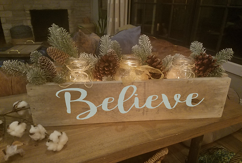 """Believe"" Holiday Centerpiece box (24"")"