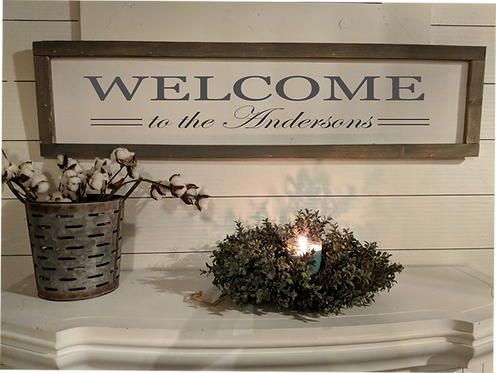 "Framed Welcome Sign 14""x48"""