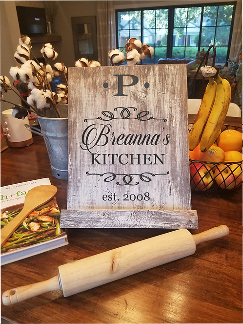 Personalized Kitchen Cook book or Tablet Stand