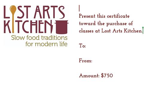 $750 Lost Arts Kitchen Gift Card