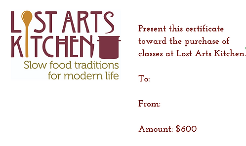 $600 Lost Arts Kitchen Gift Card