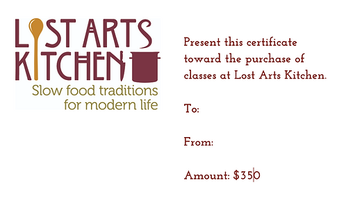 $350 Lost Arts Kitchen Gift Card