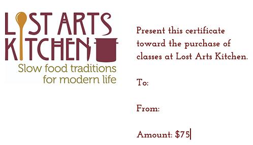 $75 Lost Arts Kitchen Gift Card