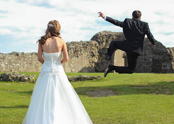 Bride Groom Jumping Scenic North Wales Wedding Photography