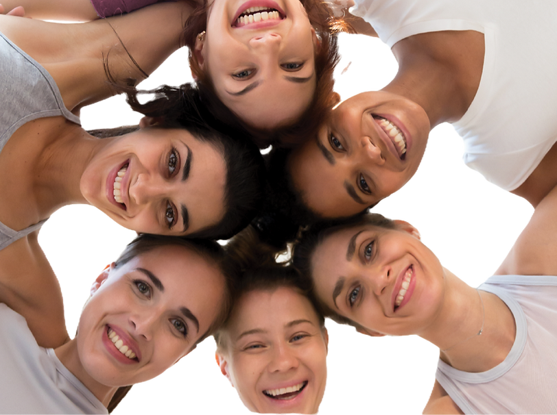 6 smiling women together as a group