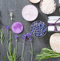 beauty product samples with fresh purple