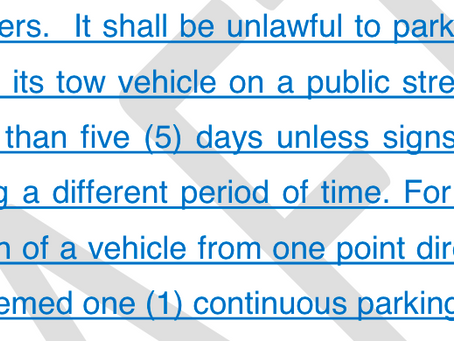 Amendment on Long Term RV and Trailer Parking will go to Council