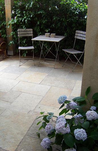 Blue Hydrangea, Limestone Paving, Outdoor Living - Le Page Design - Landscape
