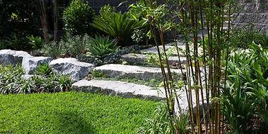 Granite rock steps, Garden - Le Page Design