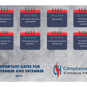 IMPORTANT DATES FOR 2019