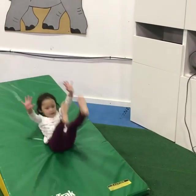 Kaiya achieving her forward roll down th
