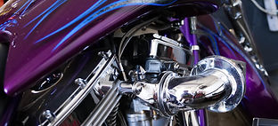 Motorcycle Purple Flames Evolution Cycle and Rods