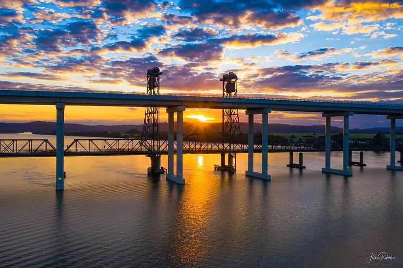 """""""TWO BRIDGES SUNSET"""" HARWOOD, NSW"""