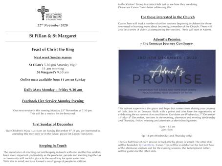 Newsletter, 22nd November '20