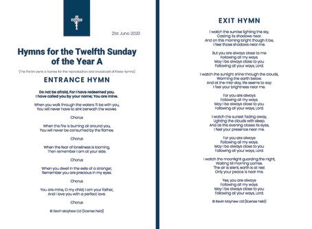 Hymns for the Twelfth Sunday of the Year A