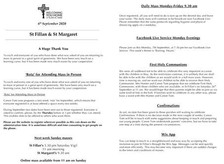 Newsletter, 6th September '20