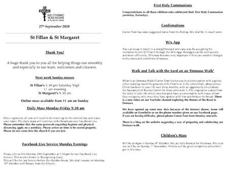 Newsletter, 27th September '20