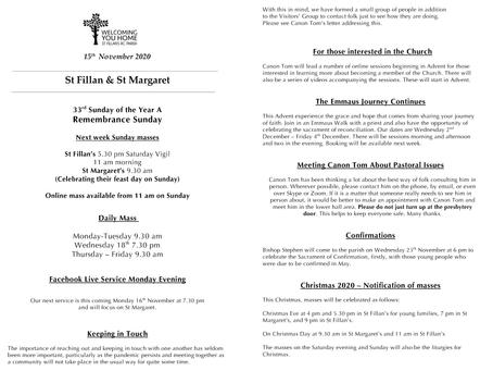 Newsletter, 15th November '20