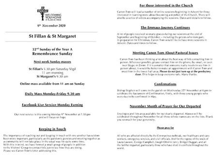 Newsletter, 8th November '20