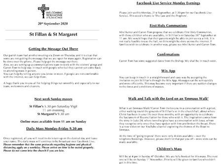 Newsletter, 20th September '20