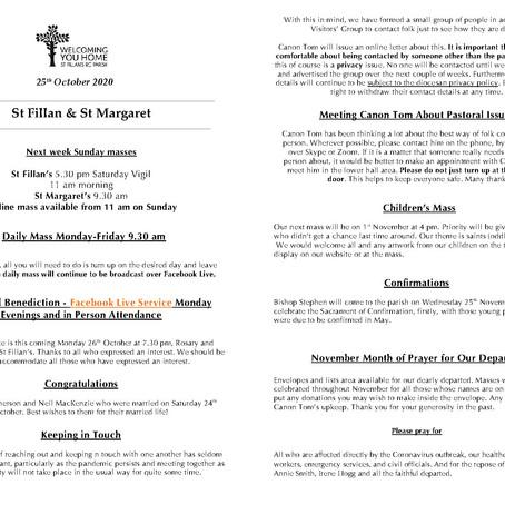 Newsletter, 25 October '20