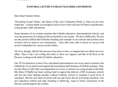 Pastoral Letter to Head Teachers and Priests