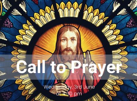 Call to Prayer, Wednesday 3rd June
