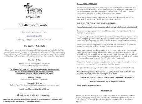 Newsletter, 28th June '20