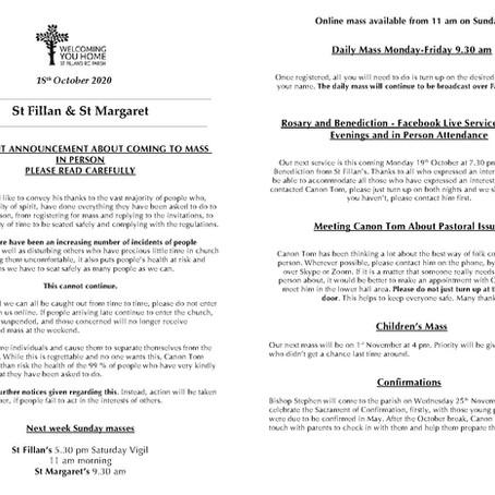 Newsletter, 18th October '20