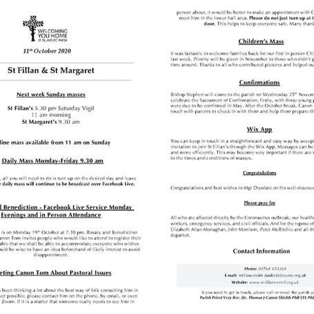 Newsletter, 11th October '20