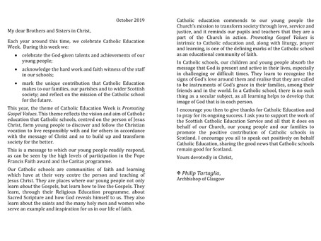 Letter from Archbishop Tartaglia