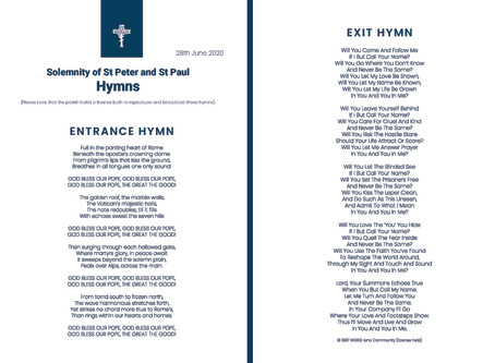 Solemnity of St Peter and St Paul - Hymns
