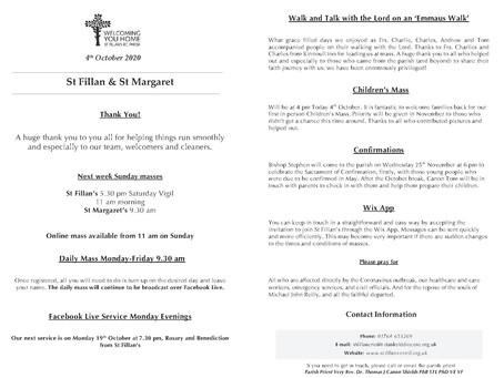 Newsletter, 4th October '20