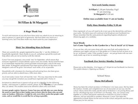 Newsletter, 30th August '20