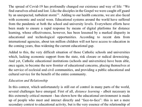 New Circular Letter issued by the Congregation for Catholic Education.