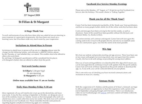 Newsletter, 21st August '20