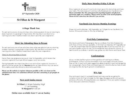 Newsletter, 13th September '20