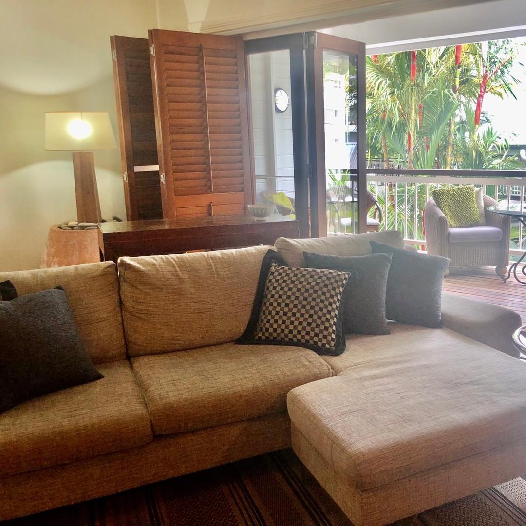 Living opens onto large balcony