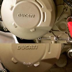 DUCATI ストリートファイターV4 クラッチカバーの修理 立ちごけしてしまった傷もお任せください