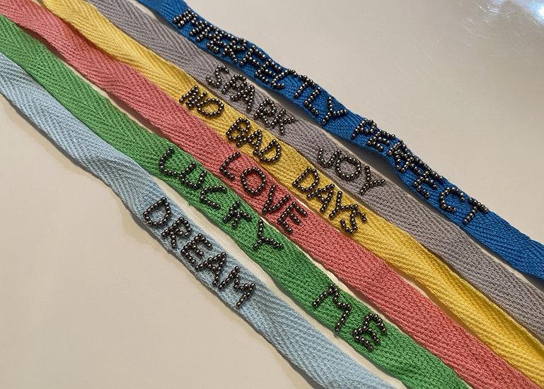 Cotton phrase bracelets