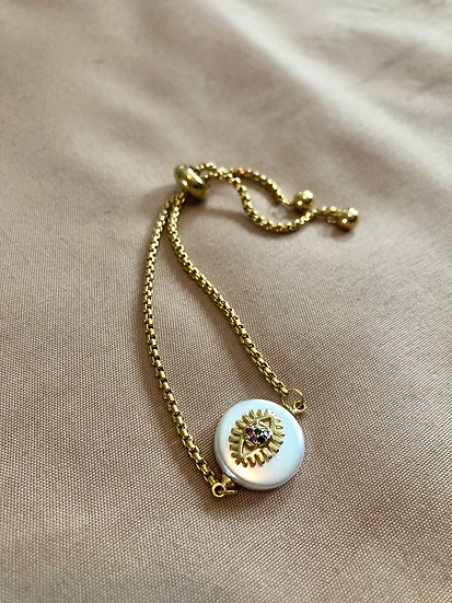 Pearl evil eye bracelet