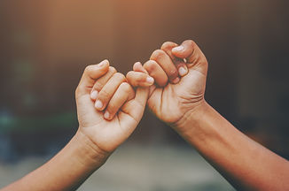 Hand to pinky swear,Happy couple or frie